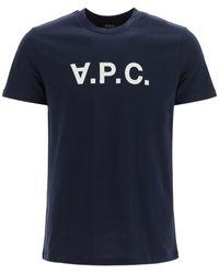A.P.C. T-shirt With Vpc Flock Logo - Blue