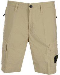 Stone Island Bermuda Cargo Shorts - Natural