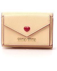 Miu Miu Madras Love Compact Wallet - Natural