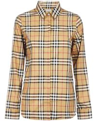 Burberry Check Print Shirt - Natural