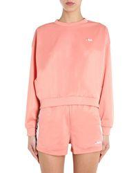 "Fila ""tallis"" Round Neck Sweatshirt With Logo Strip - Pink"