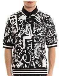 461f55c238958e Dolce   Gabbana - Music Print Polo Shirt - Lyst