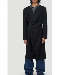 Y. Project Classic Twisted Lapel Coat - Black