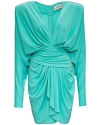 Alexandre Vauthier Draped Cotton Dress - Green