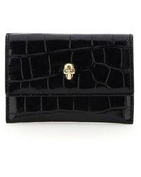Alexander McQueen Envelope Skull Card Holder Pouch - Black