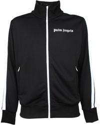 Palm Angels Logo Printed Track Jacket - Black