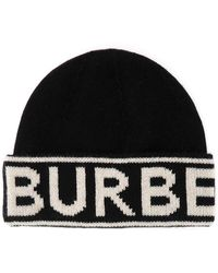 Burberry Logo Intarsia Beanie - Black
