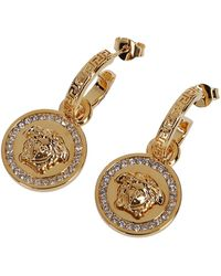 Versace Embellished Medusa Drop Earrings - Metallic