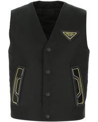 Prada Black Nylon Sleeveless Padded Jacket Nd Uomo