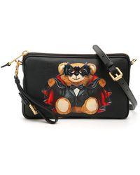 Moschino Bat Teddy Bear Crossbody Bag Os Faux Leather - Black