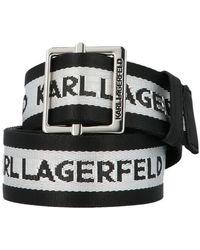 Karl Lagerfeld All Over Logo Striped Buckle Belt - Black