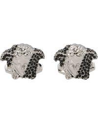 Versace Crystal Embellished Medusa Cufflinks - Metallic