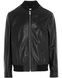 Billionaire Crest Leather Bomber Jacket - Black