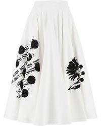 Prada Graphic Print Full Midi Skirt - White