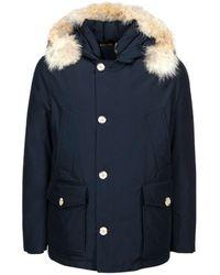 Woolrich Fur Trim Hooded Arctic Coat - Blue