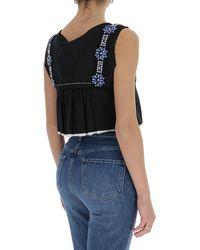 Miu Miu Crystal Embellished Peplum Crop Top - Black