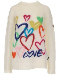 3 MONCLER GRENOBLE Heart Jacquard Knit Jumper - White