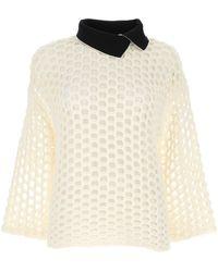 3.1 Phillip Lim Open Knit Collared Sweater - White