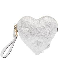Anya Hindmarch - Chubby Heart Clutch In Crinkled Metallic Silver Calfskin - Lyst