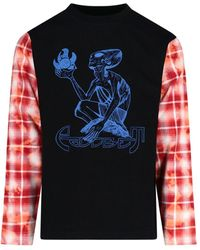 Rassvet (PACCBET) Contrasting-sleeve Graphic Printed Sweatshirt - Black