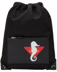 Prada Logo Print Drawstring Backpack - Black