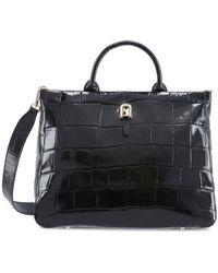 Furla Embossed Top Handle Tote Bag - Black