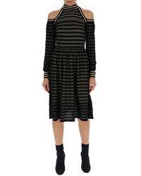 Fendi Cut-out Shoulder Midi Dress - Black