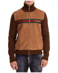 Gucci Horsebit Knit Bomber Jacket - Brown