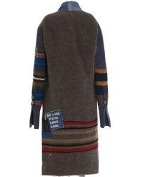 Greg Lauren Striped Denim Coat - Blue