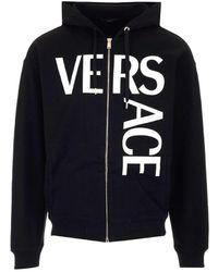 Versace Logo Printed Zip-up Jacket - Black