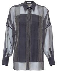 Brunello Cucinelli Sheer Panelled Shirt - Blue