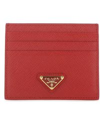Prada Tiziano Red Leather Card Holder