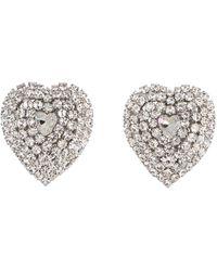 Alessandra Rich Crystal Heart Clip-on Earrings - Metallic