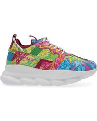 Versace - Chain Reaction Baroque Print Leather Trainers - Lyst