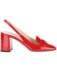 Prada Logo Plaque Slingback Court Shoes - Red