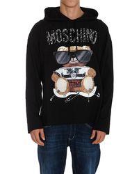 Moschino Teddy Print Drawstring Hoodie - Black