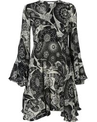 Chloé - Printed Bell Sleeve Dress - Lyst