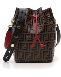 Fendi Mon Tresor Logo Embossed Bucket Bag - Brown