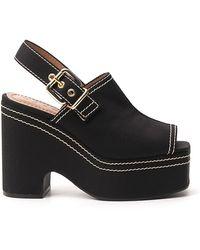 Marni Slingback Wedge Sandals - Black