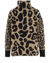 Stella McCartney Turtleneck Leopard Intarsia Jumper - Multicolour