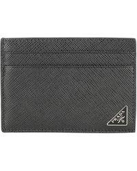 Prada Saffiano Logo Plaque Card Holder - Black