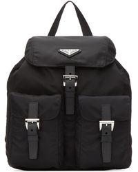 Prada Mini Logo Plaque Backpack - Black