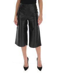 FRAME Leather Wide-leg Culottes - Black