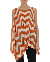 Issey Miyake Striped Pleated Top - Orange