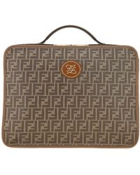 Fendi Mania Monogrammed Shoulder Strap Travel Bag - Brown