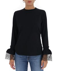 See By Chloé Lace Cuff T-shirt - Black