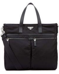 Prada Shopping Zip Tote Bag - Black