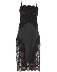 Dolce & Gabbana Lace Detail Slip Dress - Black