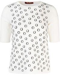 Max Mara Studio Crewneck Knitted Top - White