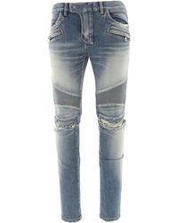 Balmain Ripped Biker Jeans - Blue